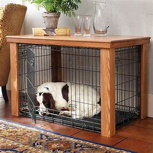 wooden table dog crate cover With dog crate desk