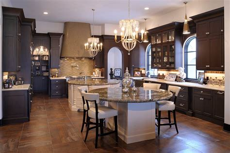 mullet cabinet elegant kitchen  dual  islands