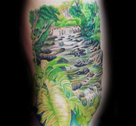 waterfall tattoo designs  men glistening ink ideas