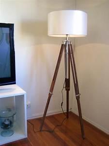 Big designer hand made teak chrome lamp shade tripod for Eden 3 light tripod floor lamp chrome
