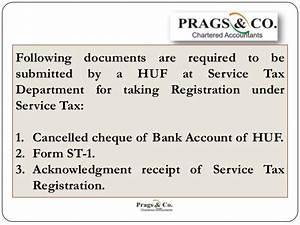 Service tax registration documents required by huf for Documents for service tax registration