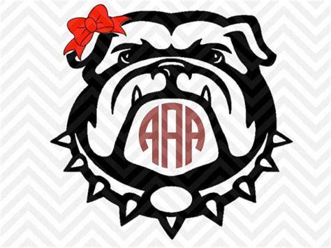 georgia bulldogs bow monogram letters   kristinamandadesigns svg cut files pinterest