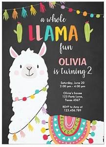 Whole, Llama, Fun, Birthday, Invitation, Alpace, Fiesta