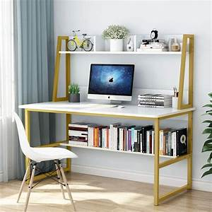 Tribesigns, Computer, Desk, With, Hutch, And, Bookshelf, 47, Inches, Home, Office, Desk, With, Space, Saving
