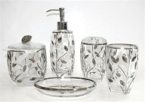 5 Pc Set Glass,silver Leaf,soap Dispenser+dish+toothbrush