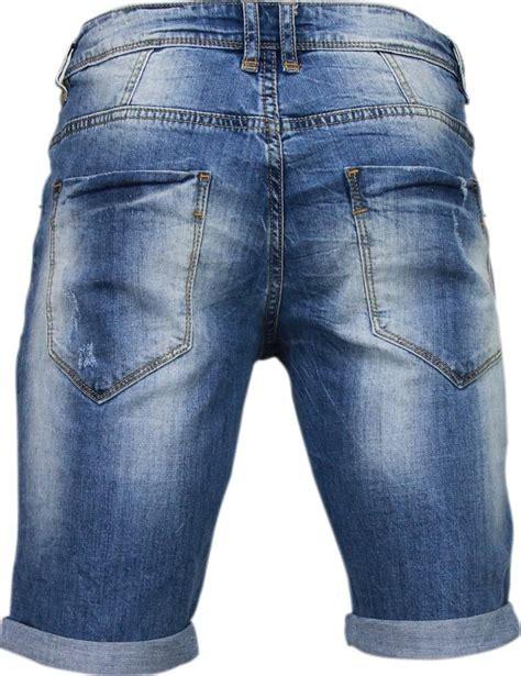 enos korte broeken heren slim fit denim damaged short blauw style italy