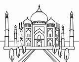 Taj Mahal Coloring Coloringcrew sketch template