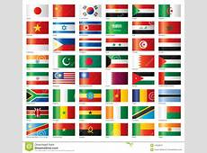 Glossy Flags Set Asia & Africa Stock Vector Illustration