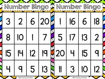 number bingo 1 20 by teaching with magee teachers pay teachers