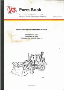 Jcb Digger 3cx Sitemaster-hammermaster 4c 4cn Owners Parts Manual