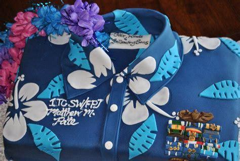 navy retirement cake hawaiian shirt party cakes