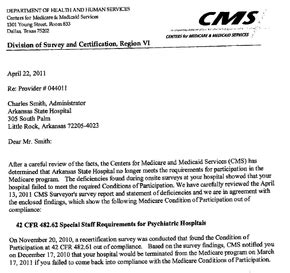 state hospital complaint recertification letter nwaonline