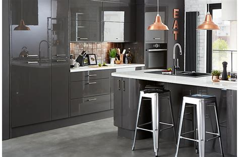 bandq kitchen cooke lewis raffello high gloss anthracite slab diy at b q