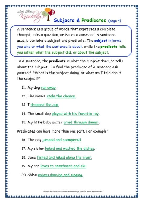 grade  grammar topic  subjects  predicates