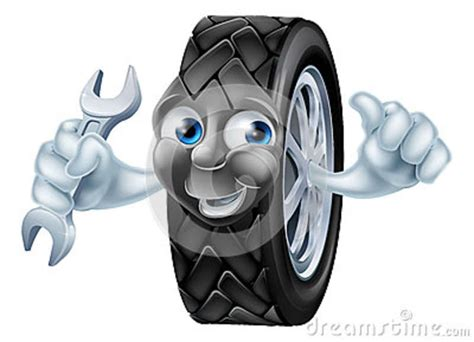 Tyre Mascot Character With Spanner Stock Vector