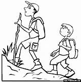 Coloring Hiking Pages Drawing Hiker Summer Clip Hikers Couple Thecolor Sketch sketch template
