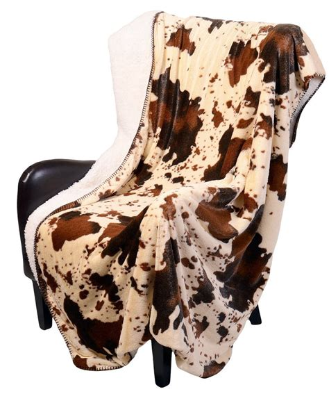 Cowhide Blanket by Regal Comfort Sherpa Luxury Throw Western Style Cow Print