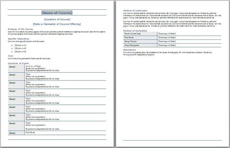 syllabus template course syllabus template free layout format