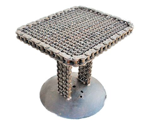 welded recycled metal  tables upcycled side table