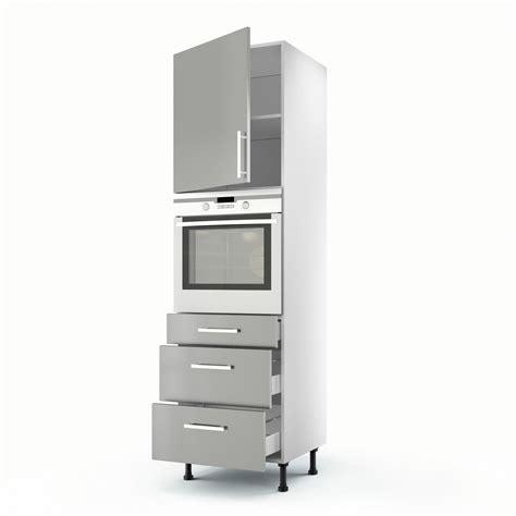 meuble colonne cuisine 60 cm meuble de cuisine colonne gris 1 porte 3 tiroirs délice
