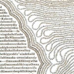 Text drawings created by cutting thousands of letters from for Text drawings created by cutting thousands of letters from books and religious texts