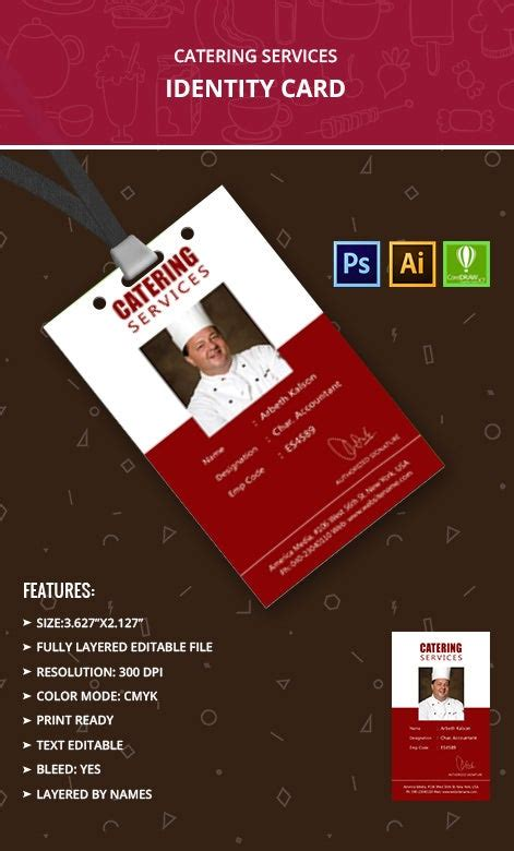 catering services identity card template  premium