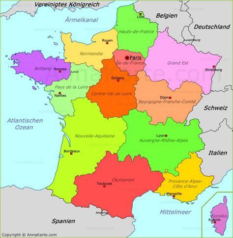 Karte Frankreich Städte