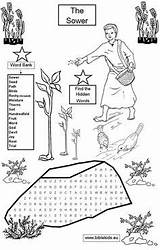 Parable Sower Bible Parables Coloring Word Pages Activities Jesus Sunday Crafts Lessons Seed Puzzles Church Seeds Puzzle Para Biblia Activity sketch template