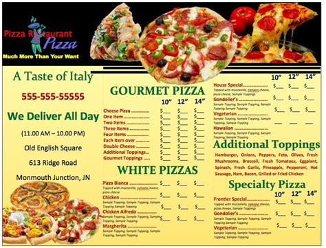 Pizza Menu Template Word by Pages Pizzeria Menu Template Free Iwork Templates