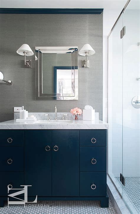navy blue and gray bathrooms