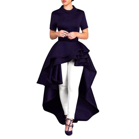 Women Short Sleeve High Low Peplum Dress Bodycon Casual