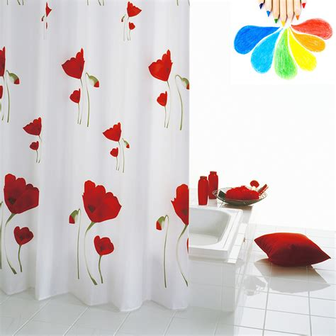 shower curtain white flowers polyester fabric modern