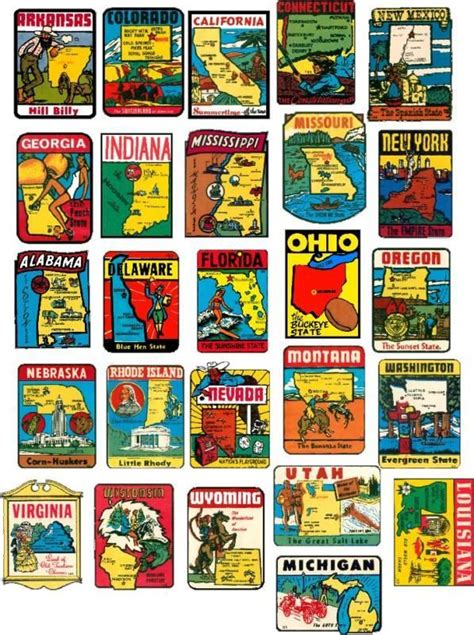 state vintage style travel decals vinyl stickers