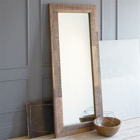 floor mirror wood reclaimed wood floor mirror contemporary wall mirrors by west elm