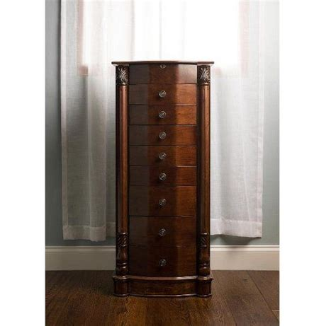 large floor standing  drawer wooden jewelry armoire