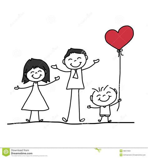 Hand Drawing Cartoon Happy Family Stock Photos Image