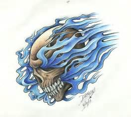 Skull with Flames Drawings