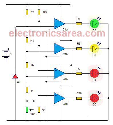 Car Battery Monitor Circuit Using Leds Electronics Area