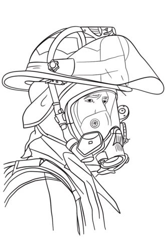 firefighter portrait coloring page  printable coloring pages