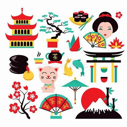 Japanese Japan Symbols Traditional Icons Travel Clipart