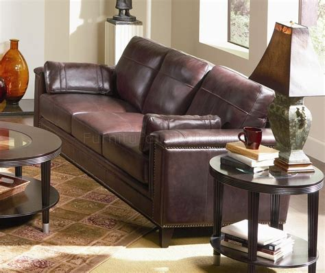top grain leather traditional style sofa  brown