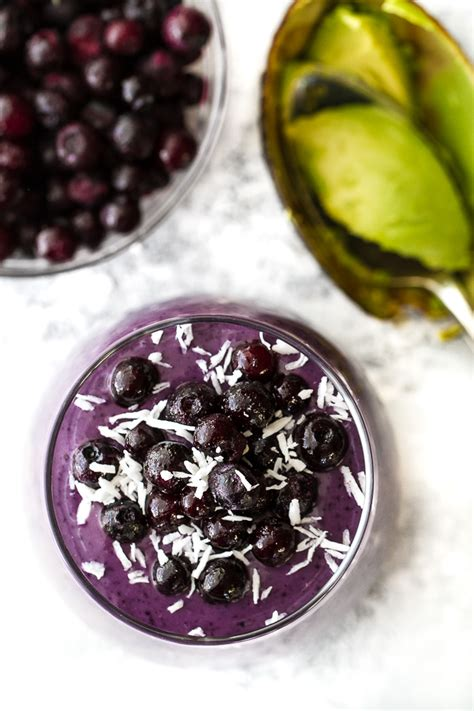 Blueberry Avocado Smoothie Running With Spoons