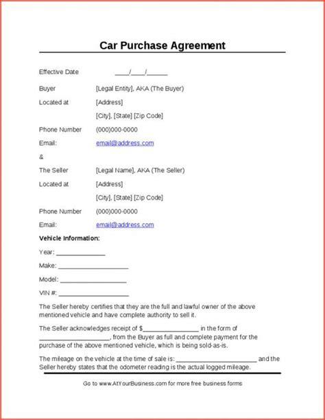 sample car bill  sale car purchase purchase agreement