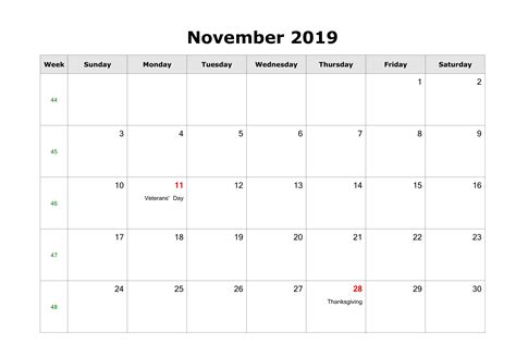 november  calendar  holidays usa uk canada