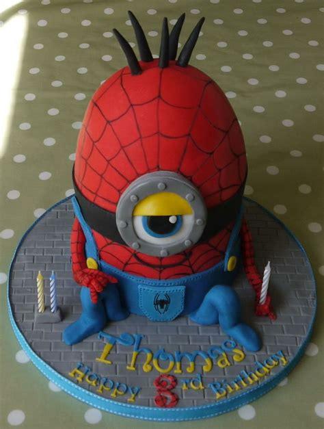spiderman minion cake minion party pinterest