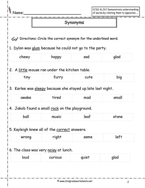 context clues choice worksheets 4th grade