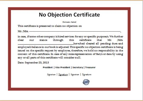 ms word  objection certificate template word excel