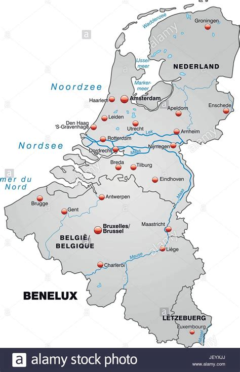 Sind Benelux Staaten by Map Of Benelux Countries As An Overview Map In Gray Stock