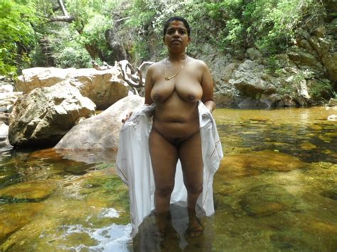 aunty bathing in river
