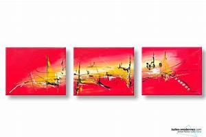 Tableau Triptyque Moderne : tableaux triptyque rouge vif moderne chaleur torride 3 toiles d 39 art d coratif grand format ~ Teatrodelosmanantiales.com Idées de Décoration